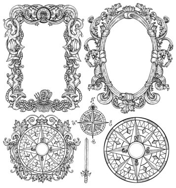Design set with baroque frames, border, victorian pattern, sea compass on white. Engraved drawings for cards, posters, invitations, print.