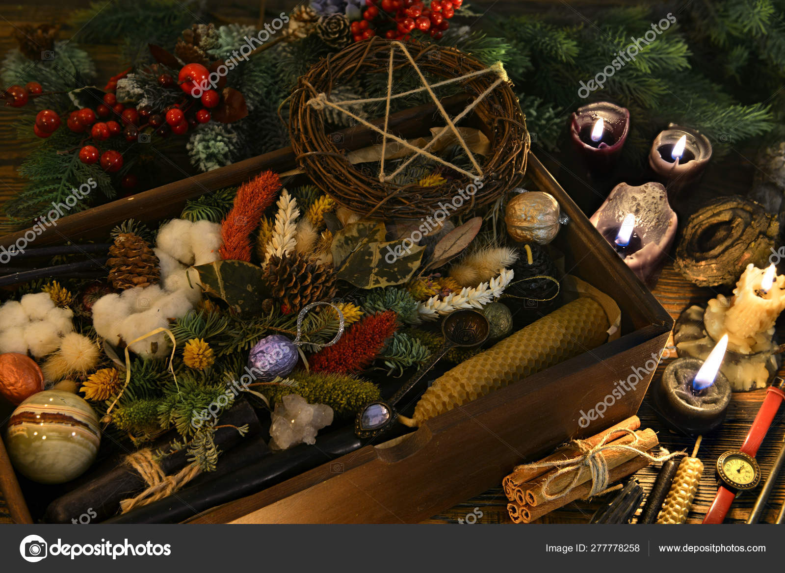 Wicca Christmas.Esoetric And Wicca Still Life With Box Of Gifts Pentagram