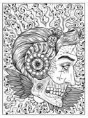 Sonne. Schwarz-weiß mystisches Konzept für Orakel-Tarotkarte.