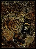 Sonnensymbol. Mystisches Zauberkonzept für großspurige Orakel-Tarotkarte.