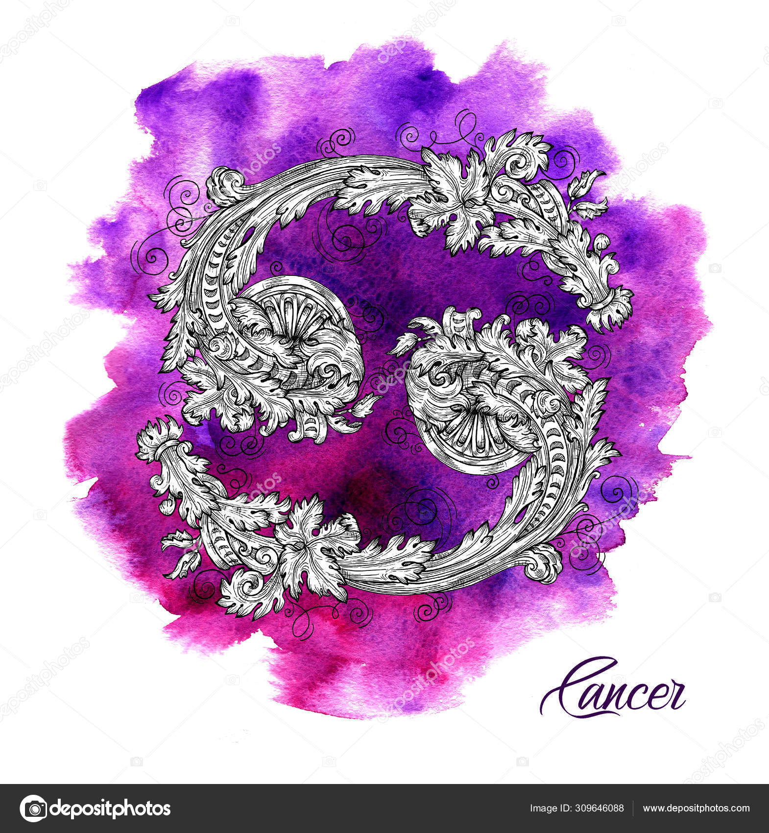 Cancer Zodiac Sign on purple watercolor background. ⬇ Stock Photo, Image by  © Samiramay #309646088