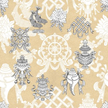 Seamless pattern with eight white auspicious symbols of Buddhism. Religious hand drawn illustration, buddhist background stock vector