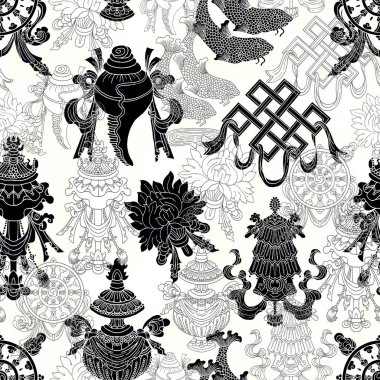 Seamless pattern with silhouettes of eight auspicious symbols of Buddhism on white. Religious hand drawn illustration, buddhist background stock vector