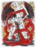 Dämonin mit Flügeln und tätowierten bösen Symbolen, Blutbecher und furchterregender Schlange.