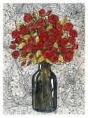 Rózsa virágcsokor vázában és pókhálóban.