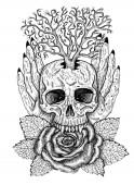 Schwarz-weißes Hexenwappen mit Totenkopf, Menschenhänden, Rosenblume und Baum. Esoterische, okkulte und gotische Illustration mit Symbolen des Todes, mystischer Hintergrund zu Halloween, gravierte Umrisszeichnung, Tätowierung Vintage Print.