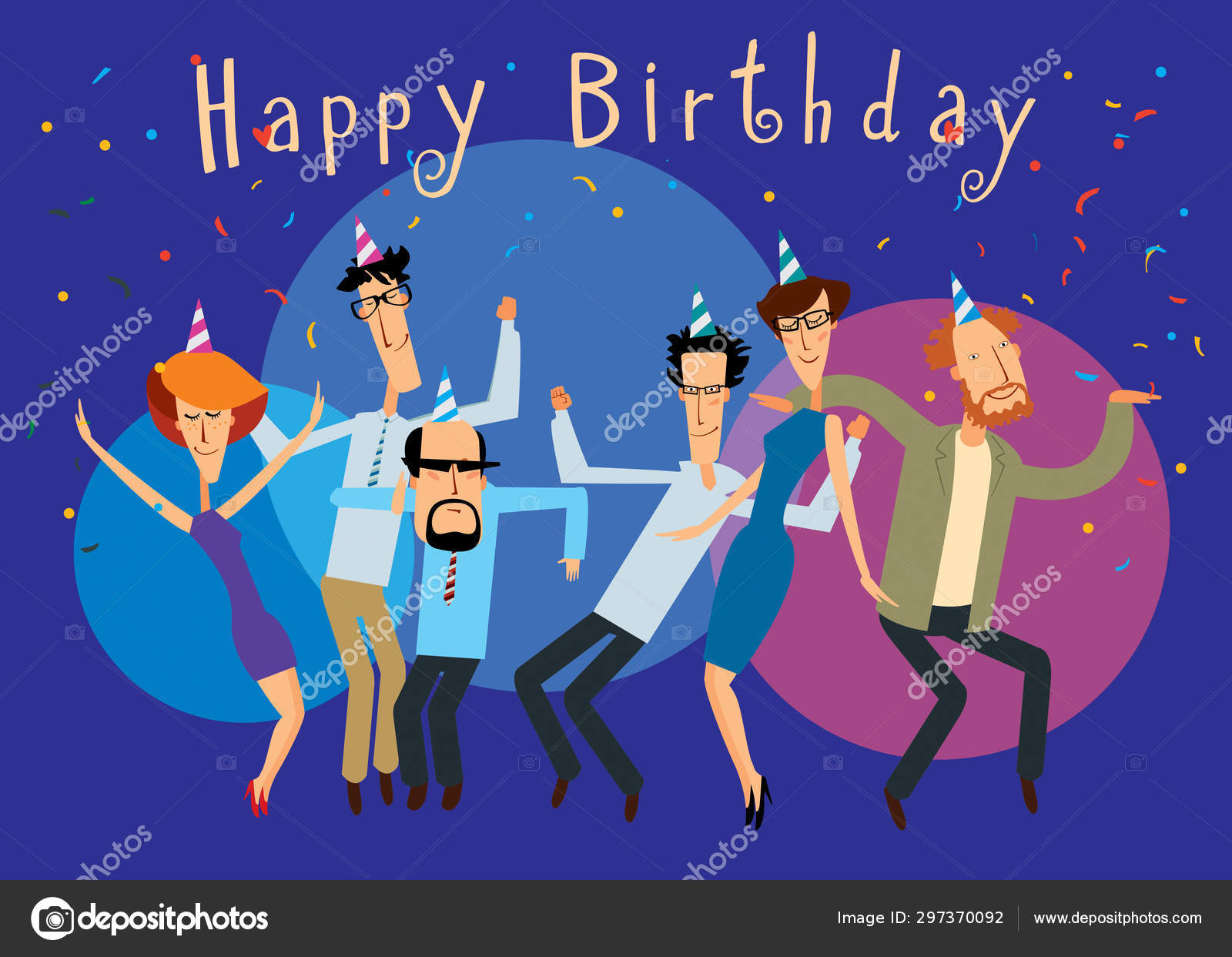 Amazing Happy Birthday Group Cheerful People Dancing Bright Party Vector Personalised Birthday Cards Veneteletsinfo