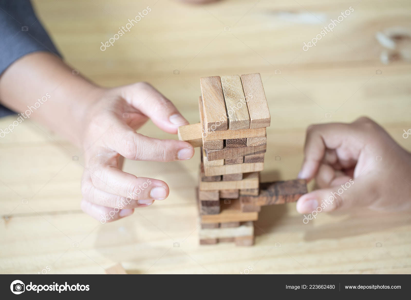 Images Hand Businesspeople Placing Pulling Wood Block Tower