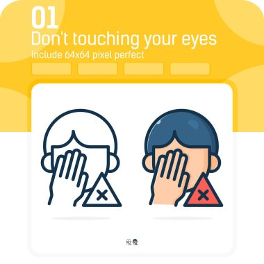 Avoid touching your eyes and nose icon isolated on white background. Vector design illustration don't touching mouth symbol design template for healthcare and all project. Include 64x64 pixel perfect icon