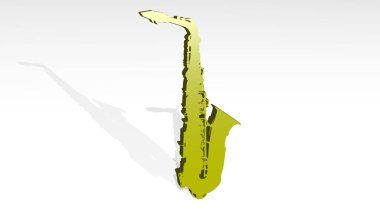 saxophone on the wall. 3D illustration of metallic sculpture over a white background with mild texture. music and jazz