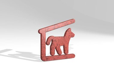 outdoors dog house made by 3D illustration of a shiny metallic sculpture on a wall with light background. beautiful and nature