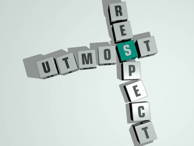 crosswords of UTMOST RESPECT arranged by cubic letters on a mirror floor, concept meaning and presentation. illustration and background