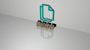 3D graphical image of copy vertically along with text built by metallic cubic letters from the top perspective, excellent for the concept presentation and slideshows. background and space