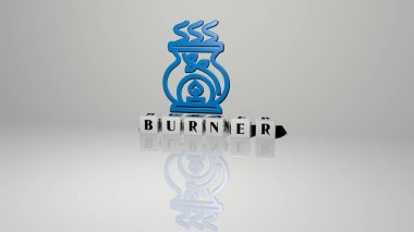 3D illustration of burner graphics and text made by metallic dice letters for the related meanings of the concept and presentations. gas and background