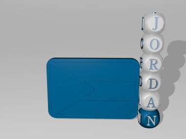 3D representation of JORDAN with icon on the wall and text arranged by metallic cubic letters on a mirror floor for concept meaning and slideshow presentation. ancient and city