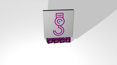 3D illustration of hook graphics and text made by metallic dice letters for the related meanings of the concept and presentations. background and fishing
