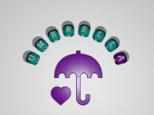 3D illustration of umbrella graphics and text around the icon made by metallic dice letters for the related meanings of the concept and presentations. background and beach