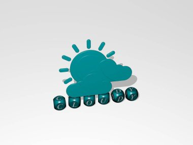 3D illustration of cloudy graphics and text made by metallic dice letters for the related meanings of the concept and presentations. sky and blue