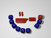 3D-Illustration von FRYING PAN-Grafiken und Text rund um das Symbol, hergestellt durch metallische Würfelbuchstaben für die damit verbundenen Bedeutungen des Konzepts und der Präsentationen. Kochen und Essen