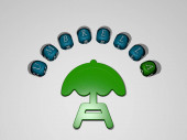 umbrella icon surrounded by the text of individual letters. 3D illustration. background and beach