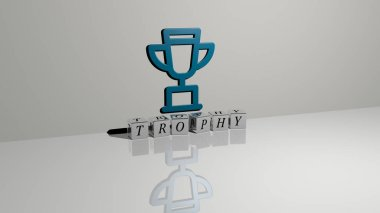 trophy text of cubic dice letters on the floor and 3D icon on the wall - 3D illustration for award and cup