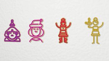 MRS CLAUS 4 icons set - 3D illustration