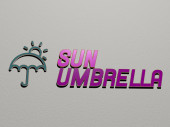 SUN UMBRELLA icon and text on the wall, 3D illustration for background and beautiful
