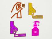 SMELL 4 Icons Set, 3D Illustration für Hintergrund und schlechte