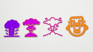 explosion 4 icons set, 3D illustration for background and abstract