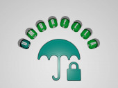 umbrella icon surrounded by the text of individual letters, 3D illustration for background and beach