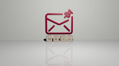 MAIL text of cubic dice letters on the floor and 3D icon on the wall, 3D illustration
