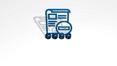 FILE 3D icon over cubic letters, 3D illustration
