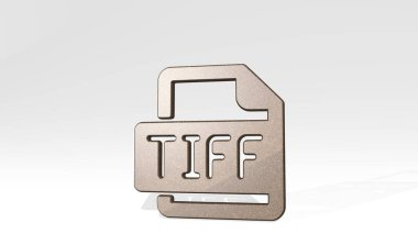 image file tiff 3D icon standing on the floor, 3D illustration