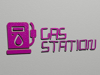 gas station icon and text on the wall, 3D illustration