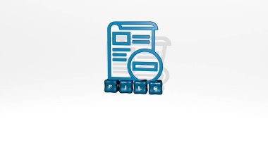 FILE 3D icon object on text of cubic letters, 3D illustration