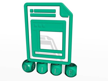 file cubic letters with 3D icon on the top, 3D illustration