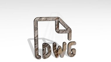 design file dwg 3D icon standing on the floor, 3D illustration