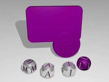 MAIL round text of cubic letters around 3D icon, 3D illustration