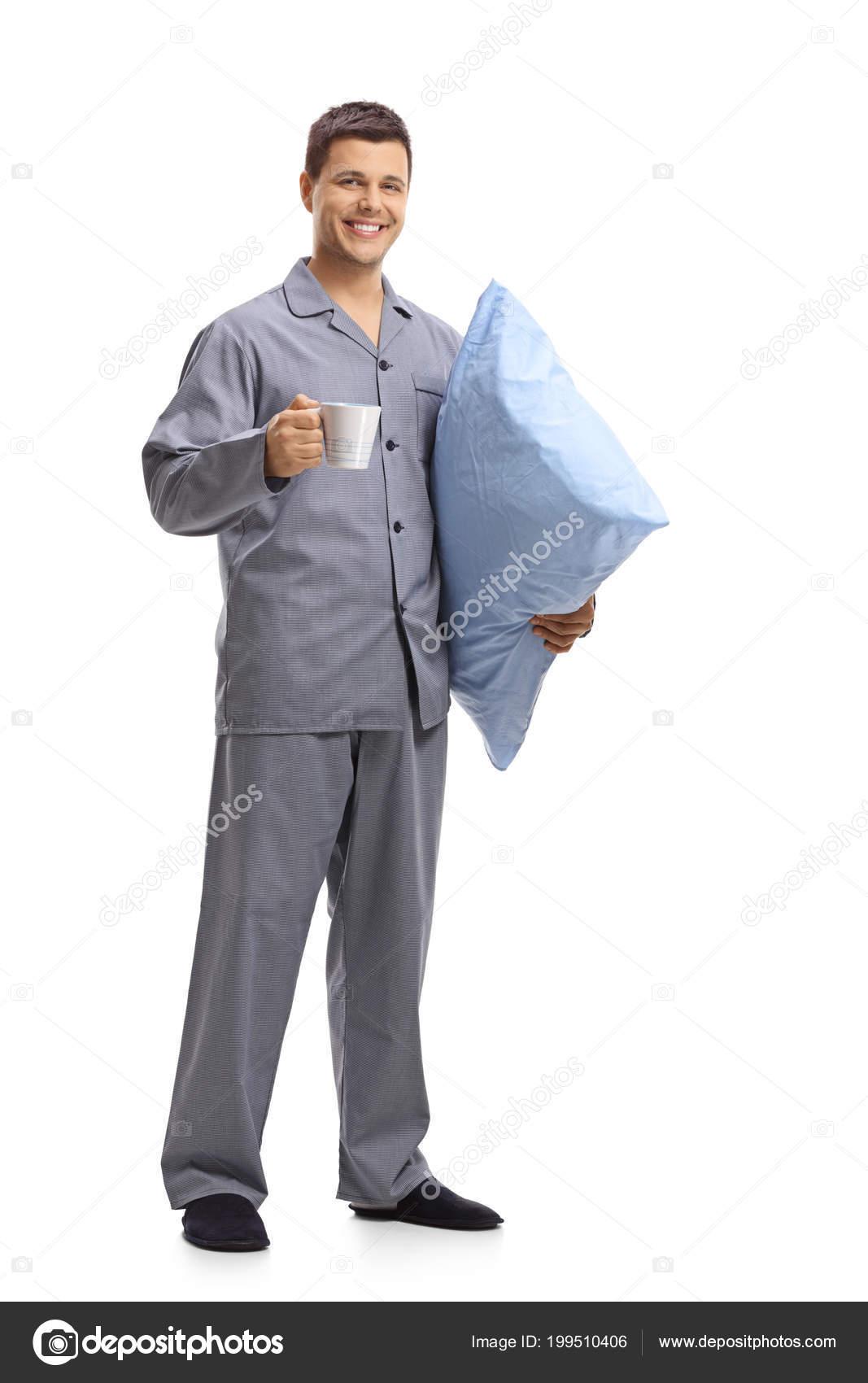 3f32d09dba Retrato Longitud Completa Hombre Joven Pijama Con Una Almohada Vaso — Fotos  de Stock