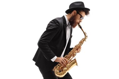 Man playing a saxophone isolated on white background
