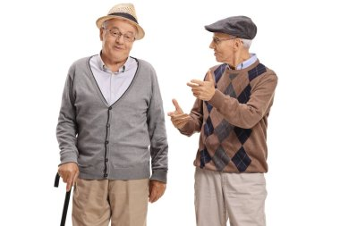 Seniors having a conversation isolated on white background