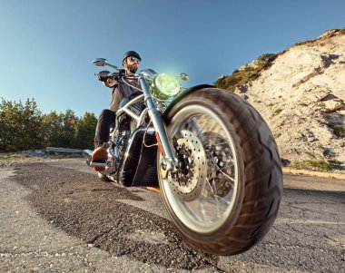 Biker riding a motorbike