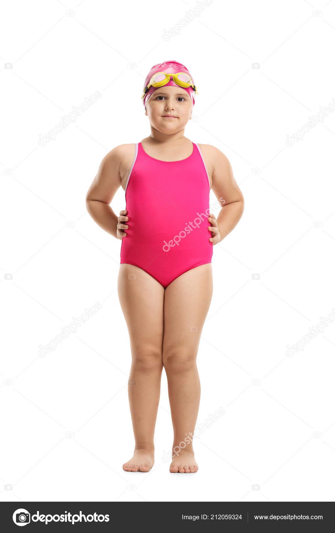 Full Length Portrait Little Girl Swimming Suit Cap Googles Isolated