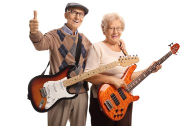 Senior man and woman with electric guitars
