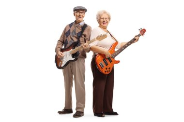 Elderly man and woman playing electric guitars