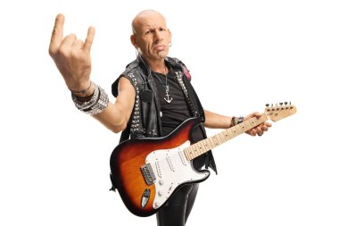 Male rock star with a guitar gesturing rock and roll sign