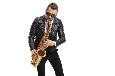 Man in a leather jacket playing a saxophone isolated on white background