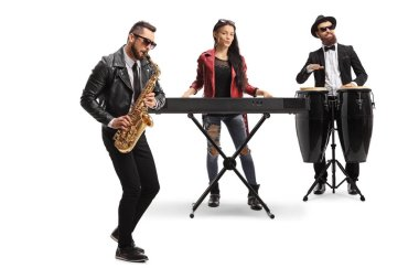 Musical band with a male sax player, a female keyboard player and a conga drummer isolated on white background