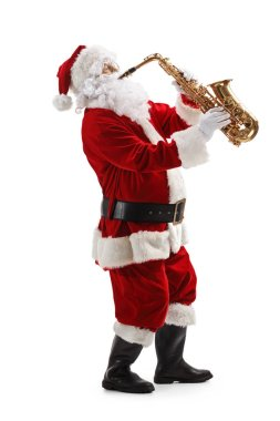 Full length profile shot of Santa Claus standing and playing sax isolated on white background