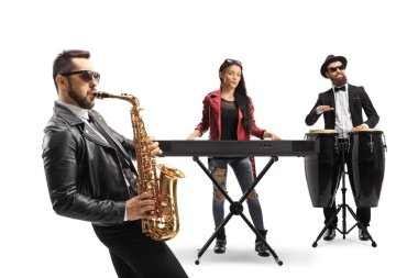 Musical band of three performing on sax, keyboard and conga drums isolated on white background